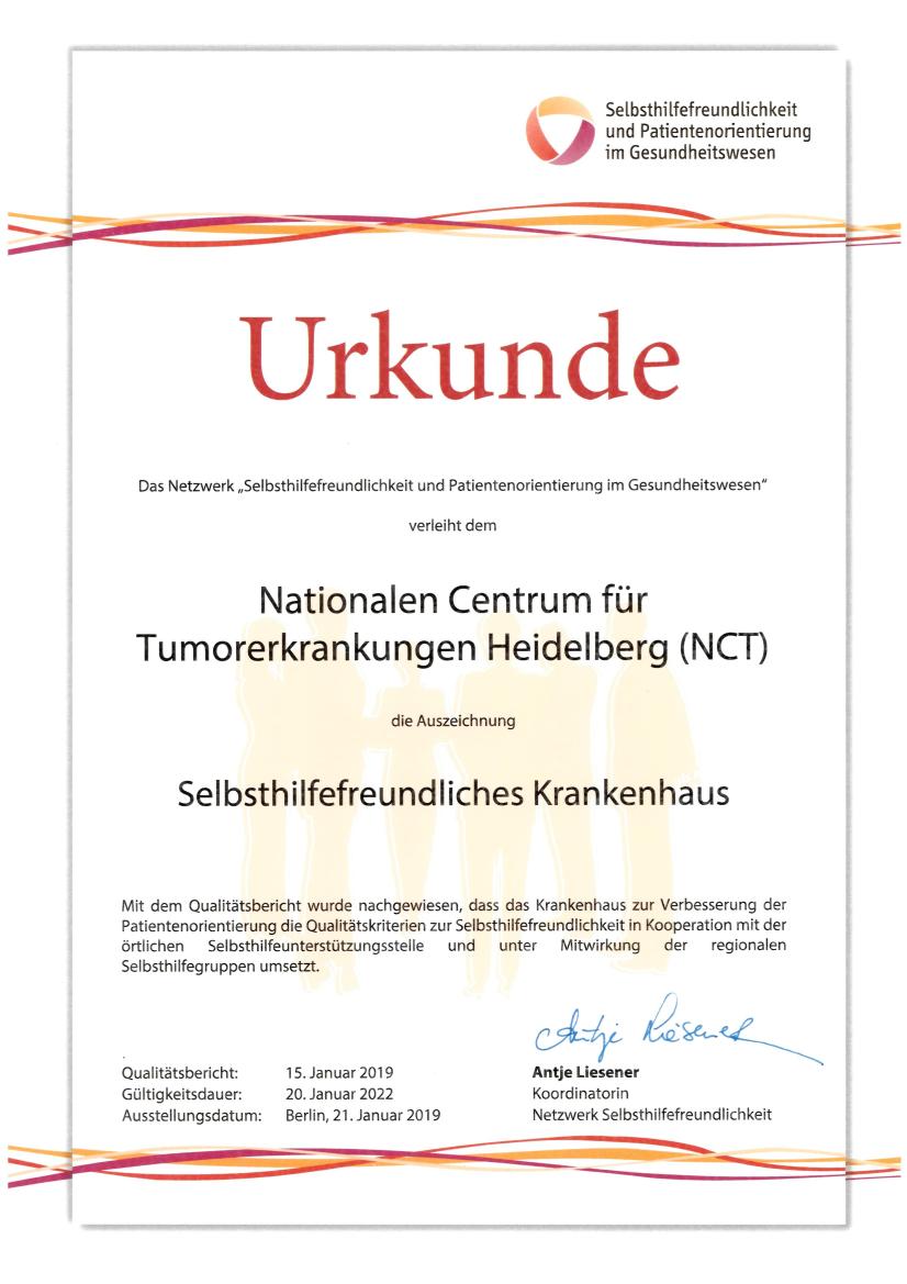 Certificate self-help-friendly hospital
